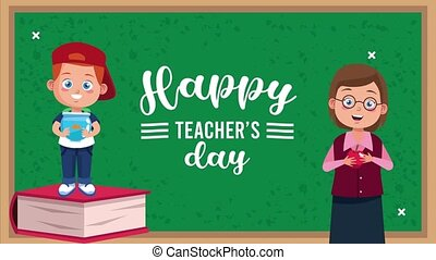 happy teachers day animation lettering with teacher female ...
