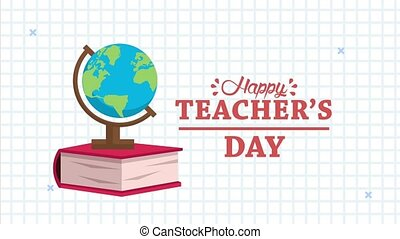 happy teachers day animation lettering with world map and ...