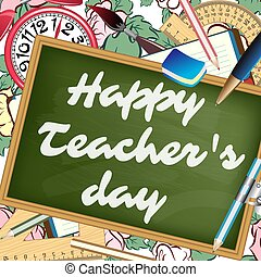 Happy teachers day greeting card teachers day letters on clip happy teachers day greeting card teachers day letters on school desk vector illustration spiritdancerdesigns Images