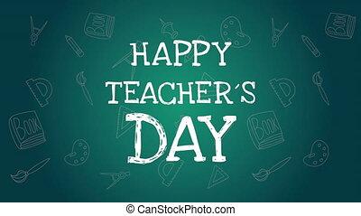 happy teachers day lettering in chalkboard ,4k video ...