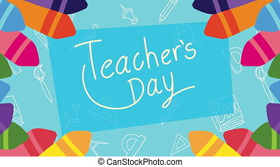 happy teachers day lettering with crayons frame ,4k video animated