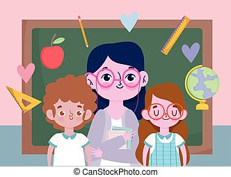 happy teachers day, teacher and cute boy girl student with blackboard and stuff school