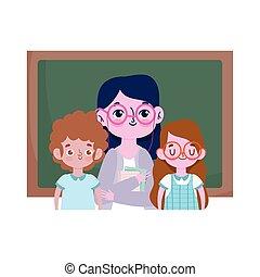 happy teachers day, teacher and cute boy girl student with blackboard school
