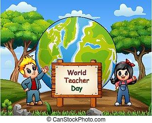 Happy teacher's day with children standing