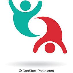 Happy Team 2 people group logo
