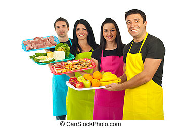 Happy team of market workers with fresh food - Happy team of...