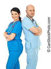 Happy team of physicians - Happy team of two physicians ...
