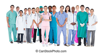 Happy team of smiling doctors stand