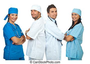 Happy teams of doctors