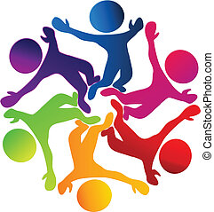 Happy teamwork diversity logo