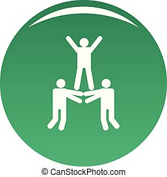 Happy teamwork icon vector green