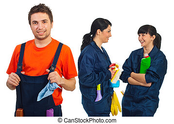 Happy teamwork of cleaning workers