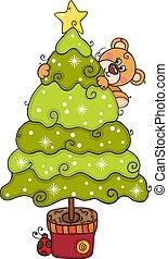Happy teddy bear climbing Christmas pine tree