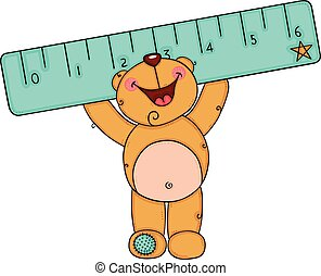 Happy teddy bear holding a blue ruler