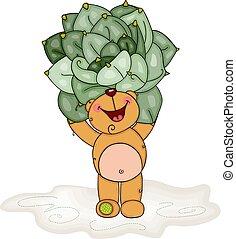 Happy teddy bear holding a cactus