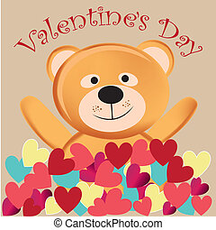 happy teddy bear in valentine's day