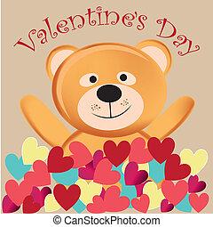 happy teddy bear in valentine's day