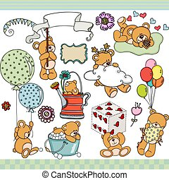 Happy teddy bear set digital elements