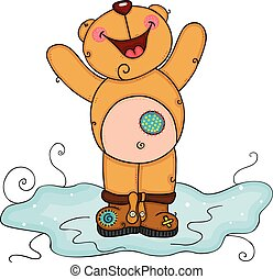Happy teddy bear with boots