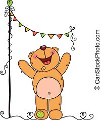 Happy teddy bear with bunting banner party