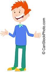 happy teen boy cartoon character