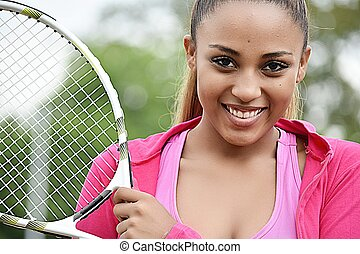 Happy Teen Female Tennis Player