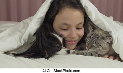 Happy teen girl communicates with dog Papillon and Thai cat in bed stock footage video