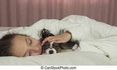Happy teen girl communicates with dog Papillon in bed stock footage video