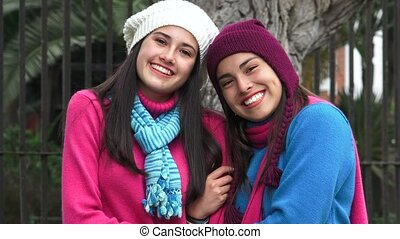 Happy Teen Girl Friends Cold Weather