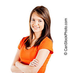 happy teen girl half length portrait isolated on white...