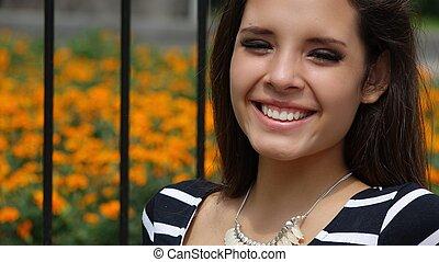 Happy Teen Girl In Park