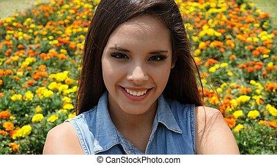 Happy Teen Girl In Springtime