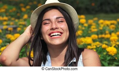 Happy Teen Girl Laughing