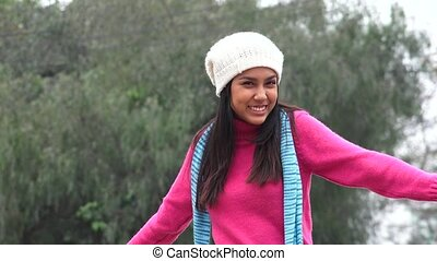 Happy Teen Girl Talking Wearing Sweater Cold Winter