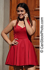 Happy Teen Girl Wearing Red Dress