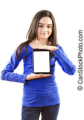 Happy teen girl with digital tablet