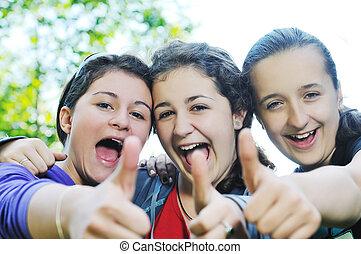 teen girls group outdoor
