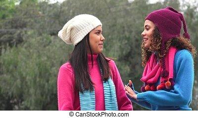 Happy Teen Girls Talking