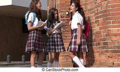 Happy Teen School Girls