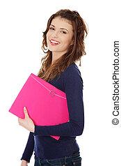 Happy teen student girl, isoalated on white background