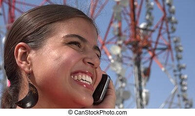 Happy Teen Using Cell