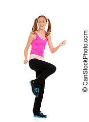 Happy teen workout zumba fitness