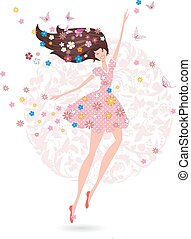 Happy teenage girl with flowers on her head with butterfly. gree
