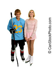 Happy Teenage Hockey Player and Figure Skater