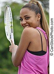 Happy Teenager Female Tennis Player