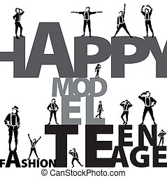 happy teenager group vector