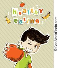 Happy teenager present healthy food - Healthy food, cartoon...