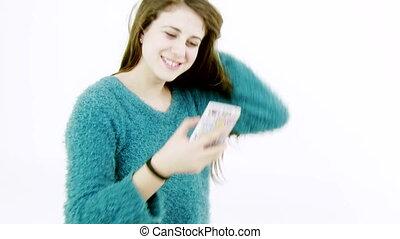 Happy teenager taking selfie