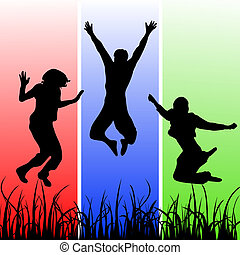vector illustration of jumping teenager sihouettes on a colorful background