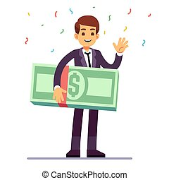 Happy teenager winner holding money dollars prize. Lottery, good luck and casino gambling vector concept